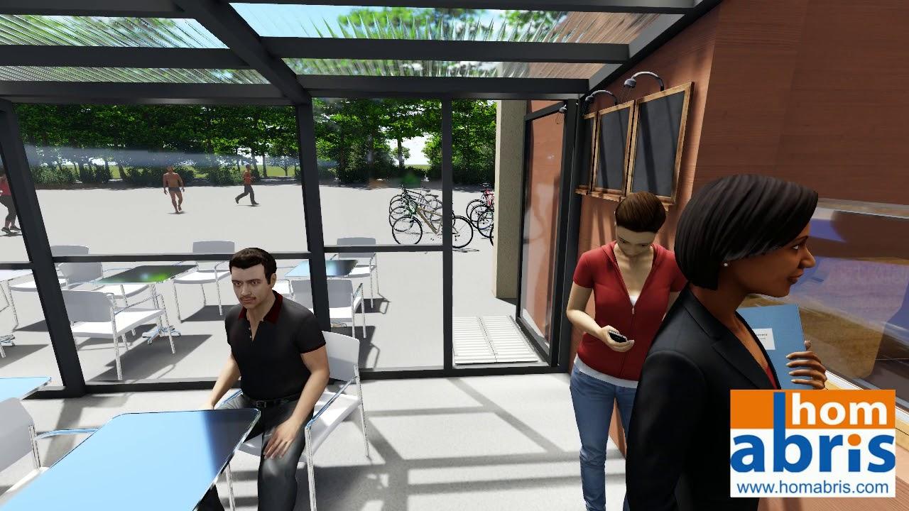 Abri De Terrasse Haut Télescopique Adossé Pour Professionnel