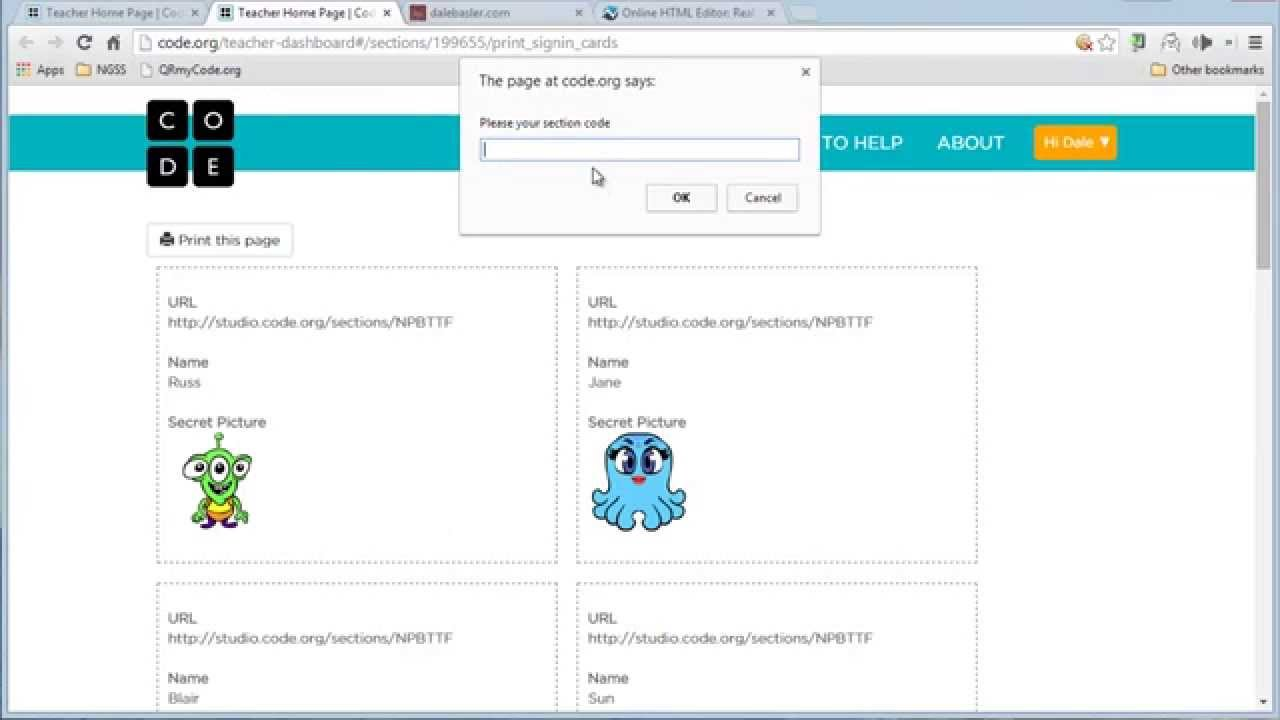 Add QR codes to student login cards at code org