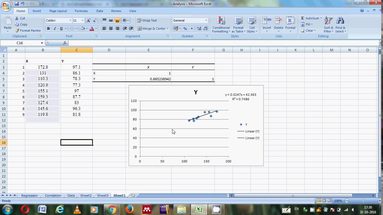Drawing Lines Excel Spreadsheet : How to do the correlation and draw a regression line on excel