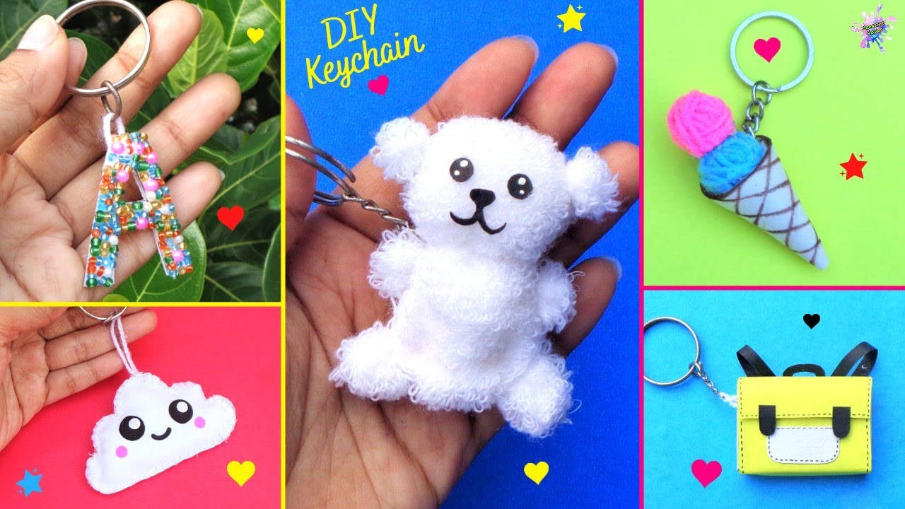 DIY : How to make Keychains at home  Best out of waste  5 Cute & Easy Keyring Ideas