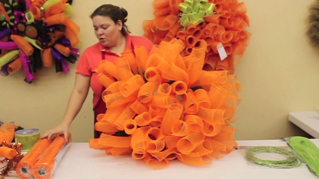 How To Make A Pumpkin Wreath Youtube