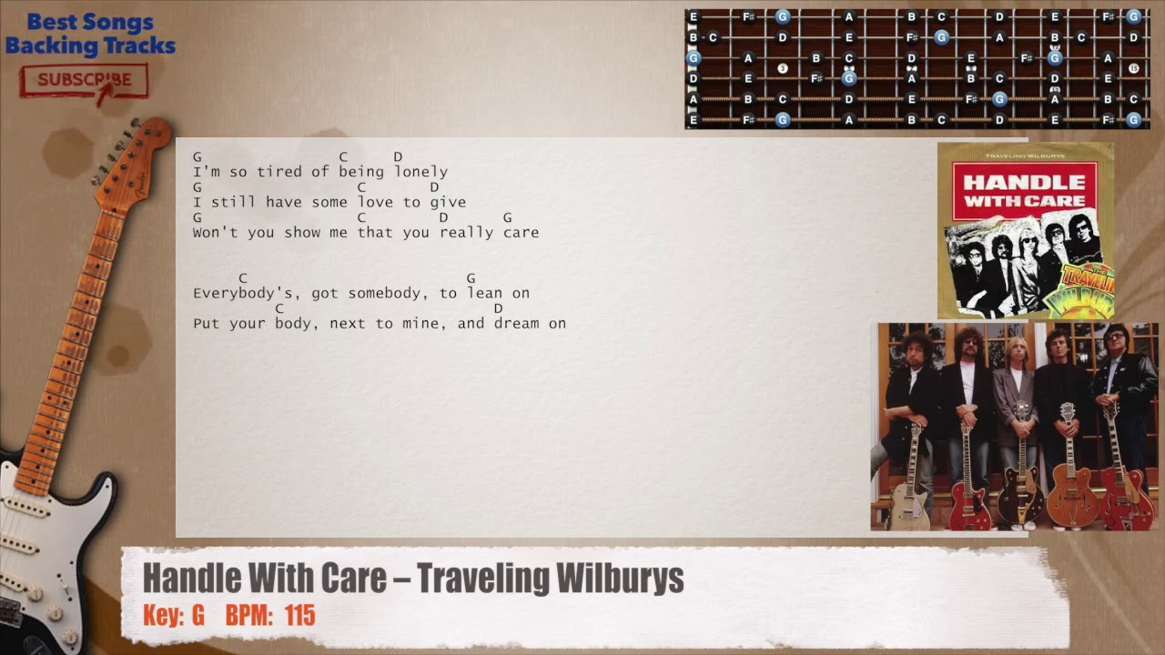 Handle With Care Traveling Wilburys Solo Guitar Backing Track With