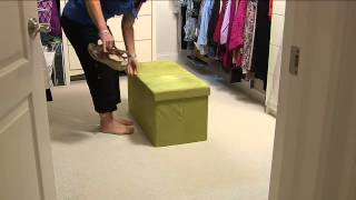 "Microsuede 30"" Folding Storage Bench By Fhe With Courtney Cason"