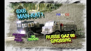 russe gaz 66 crossrc gc4 kit 6x6 man kat1 stroll with trucks in the forest crawling adventure rc