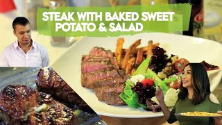 Download Video Steak with baked sweet potato & salad MP3 3GP MP4
