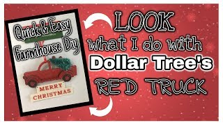 LOOK what I do with DOLLAR TREE'S RED TRUCK Ornament   Dollar Tree FARMHOUSE DIY