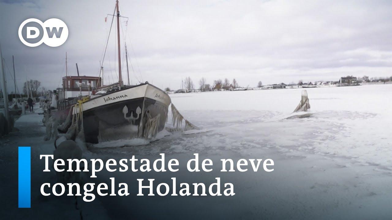 Temperaturas gélidas promovem cenário siberiano na Holanda