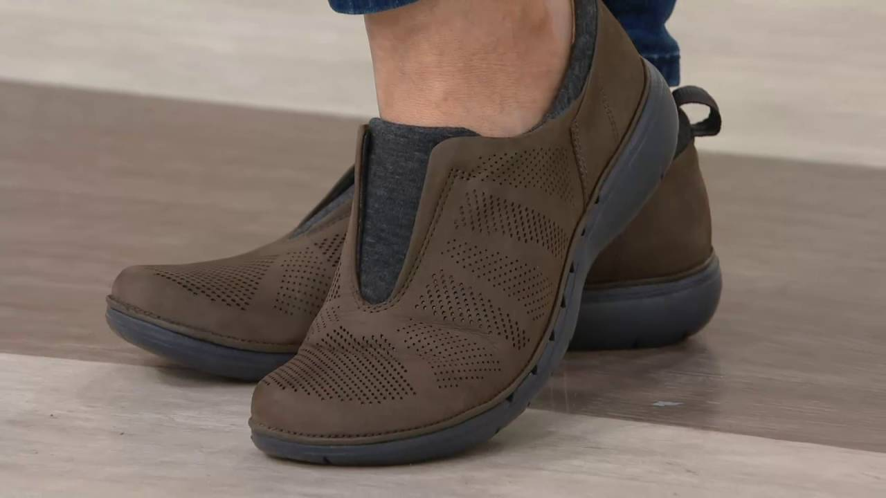 Clarks UnStructured Nubuck Leather Slip-on Shoes - Un.Spirit on QVC ... e1226e4f94