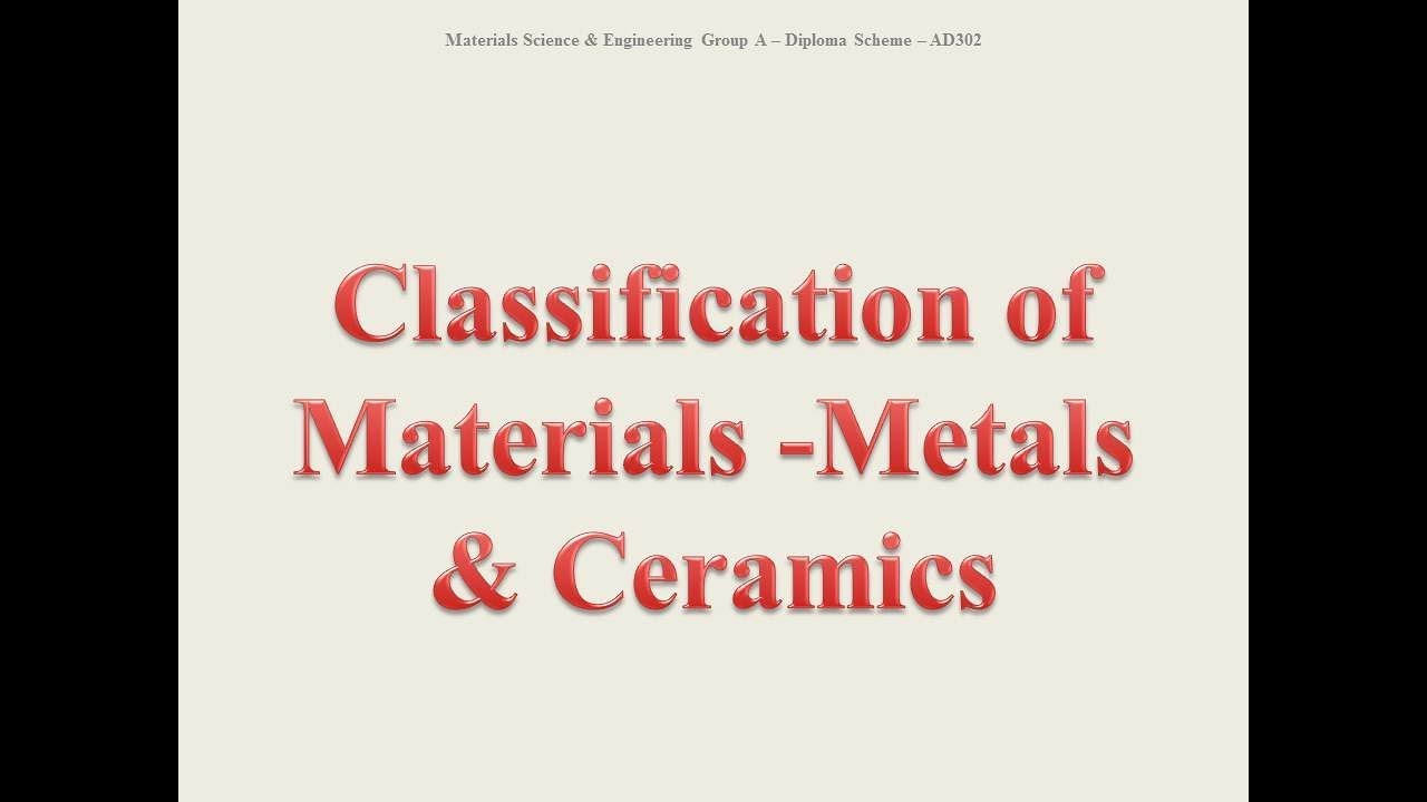 Classification Of Materials Metals Ceramics Amie Ad 302 Material Science And Engineering