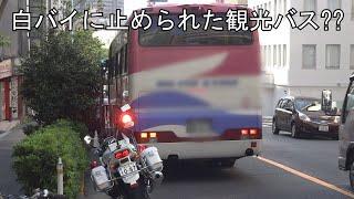 観光バスが交通違反で白バイに検挙