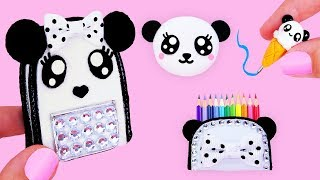Barbie Hacks and Crafts! ~ Miniature PANDA School Supplies ( Backpack, Notebook, Pen, Pencil case)🐼
