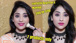 Beignners Everyday makeup | step by step || using 7 products only