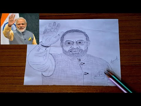 Drawing of PM Narendra modi ji pencil drawing - YouTube