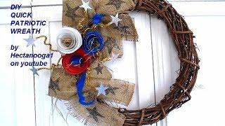 DIY PATRIOTIC WREATH, Home decor, 4th of July wreath, Burlap door hanger, rolled flowers,