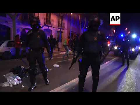 Injured protester questioned by police in Barcelona