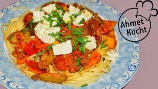 Spaghetti mit Gemüse Hack Soße | Ahmet Kocht | italienisch kochen | Folge 240