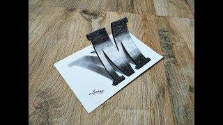 Drawing 3D Letter  M In Marlboro Font - Drawing 3d letter - Art Maker Akshay
