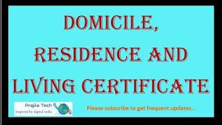 Get|Download|Apply Residence|Domicile|Living Certificate Online Karnataka 2020