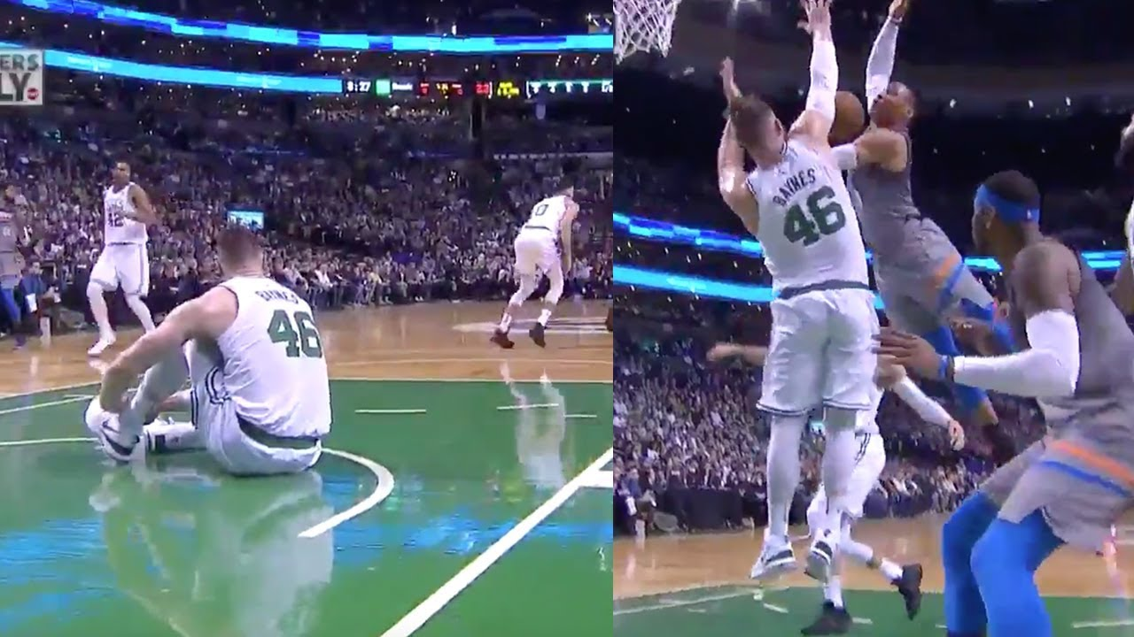 Russell Westbrook Tries To Dunk On Celtics Player Tying Their Shoes Celtics Vs Thunder 2018