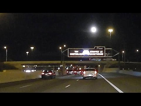 Ottawa (Canada) drive - Highway evening with moon at horizon (with music)