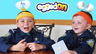 EGGED ON the Game of Egg Roulette Toy Review with silly Ryan and Smalls! vs Sketchy Mechanic!