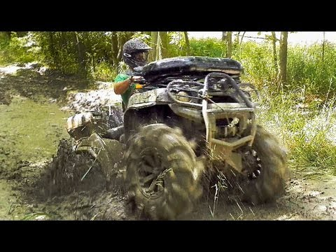 Mudding in the Clay Holes - RZR XP,  Brute Force on 32 Silverbacks,  Can-Am Renegade + Outlander