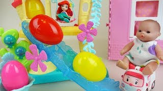 Little mermaid slide and Baby doll surprise eggs toys play