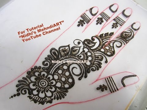 Easy Arabic Henna Mehndi Mehandi Design Tutorial for Back Hand