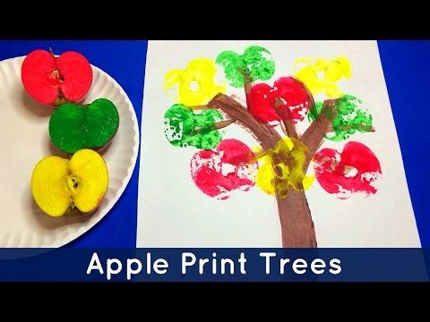 Apple Print Trees - Preschool and Kindergarten Art Project