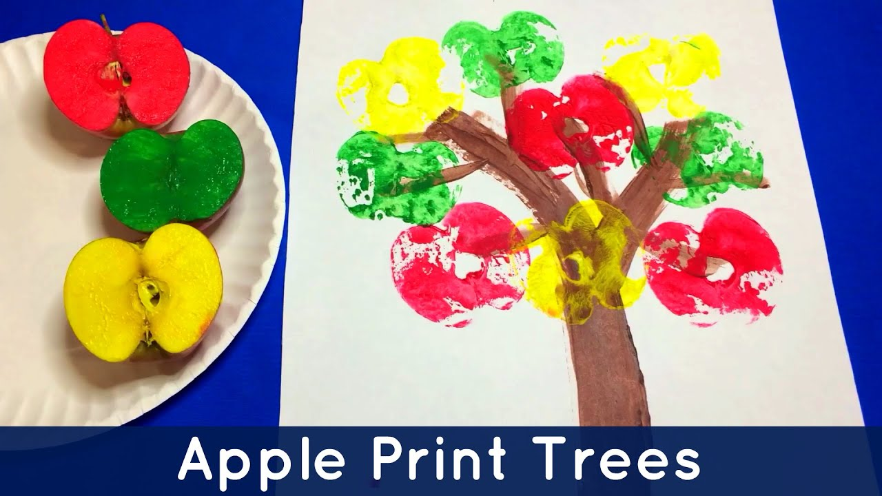 Apple Print Trees Preschool And Kindergarten Art Project Youtube inside Art And Craft Ideas For Kindergarten