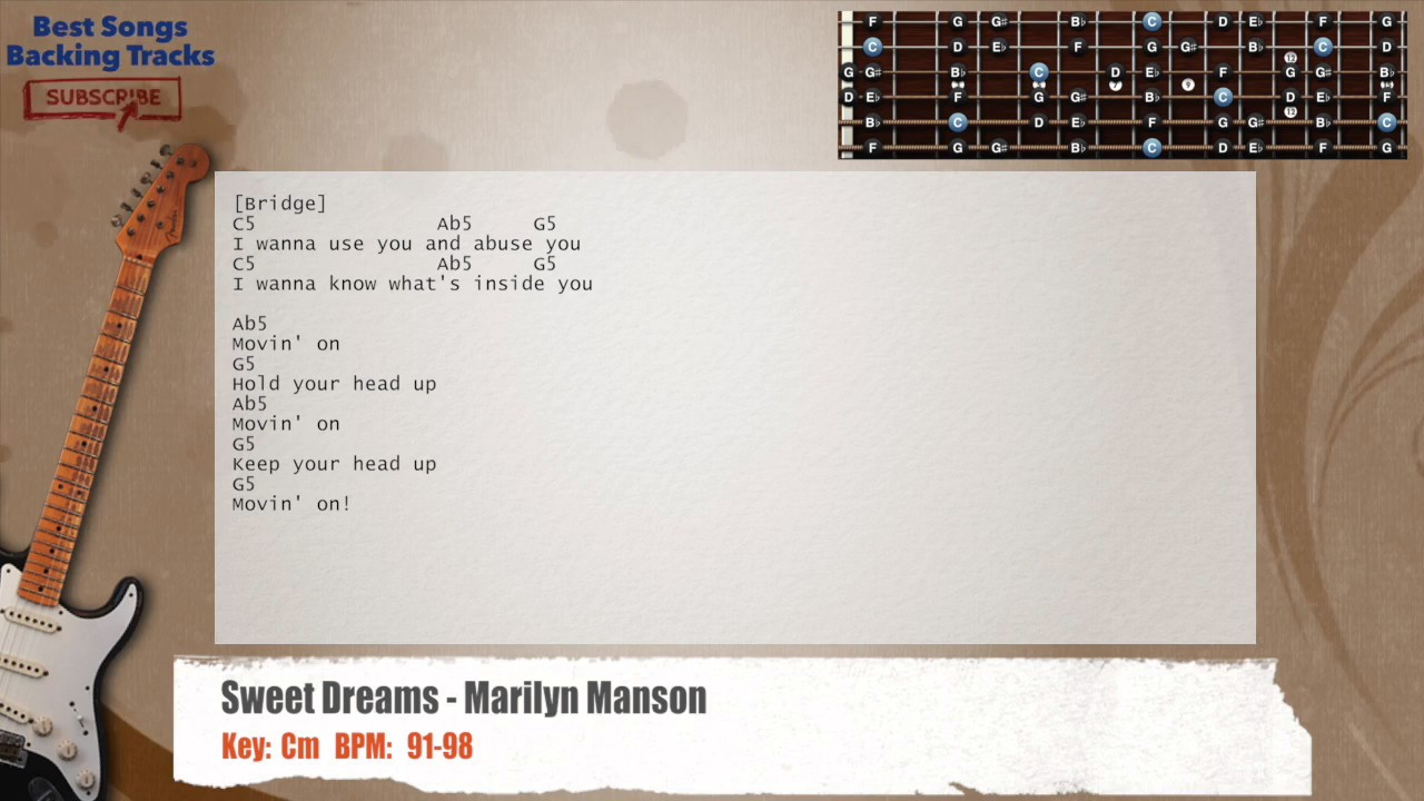 Sweet Dreams Marilyn Manson Guitar Backing Track With Chords And