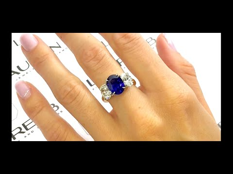 3.20 ct Sapphire and Diamond 3-Stone Engagement Ring