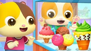 Little Babies in Ice Cream Shop | Learn Colors Fruits Names | Nursery Rhymes | Kids Songs | BabyBus