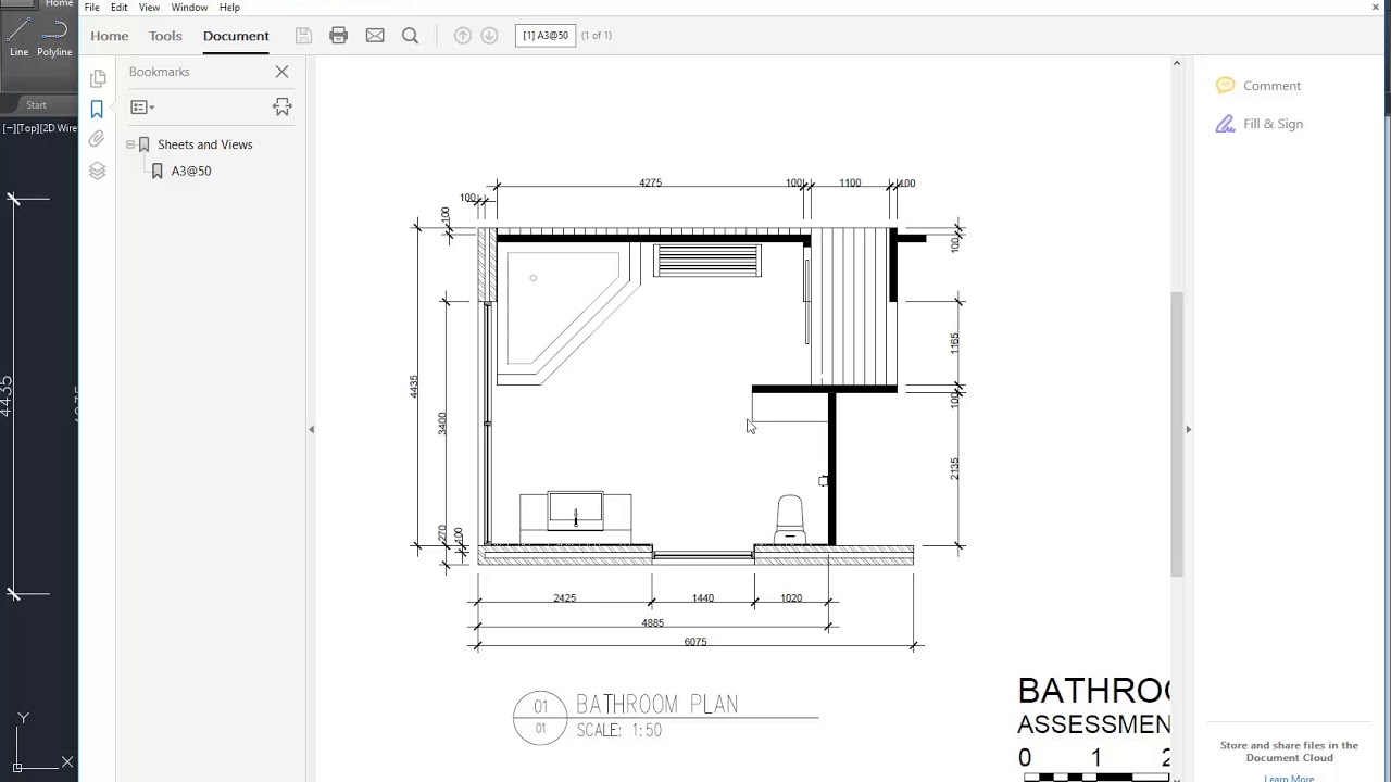AutoCAD Bathroom Plan Drawing