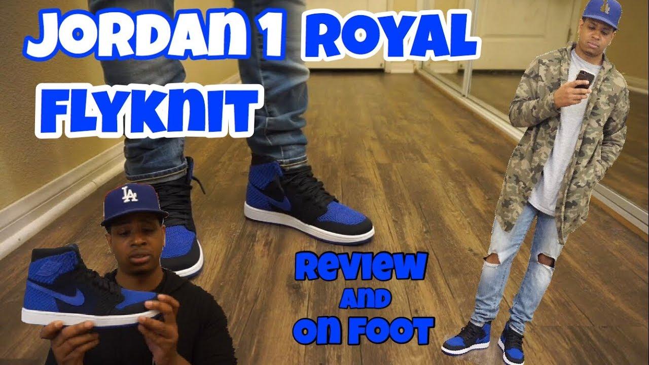61385917442 Jordan 1 Royal Flyknit Review + On Foot - YouTube