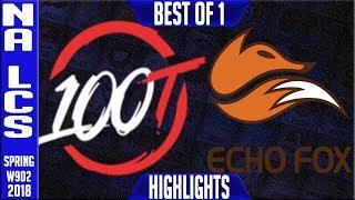 100 vs FOX Highlights | NA LCS Week 9 Spring 2018 W9D2 | 100 Thieves vs Echo Fox Highlights