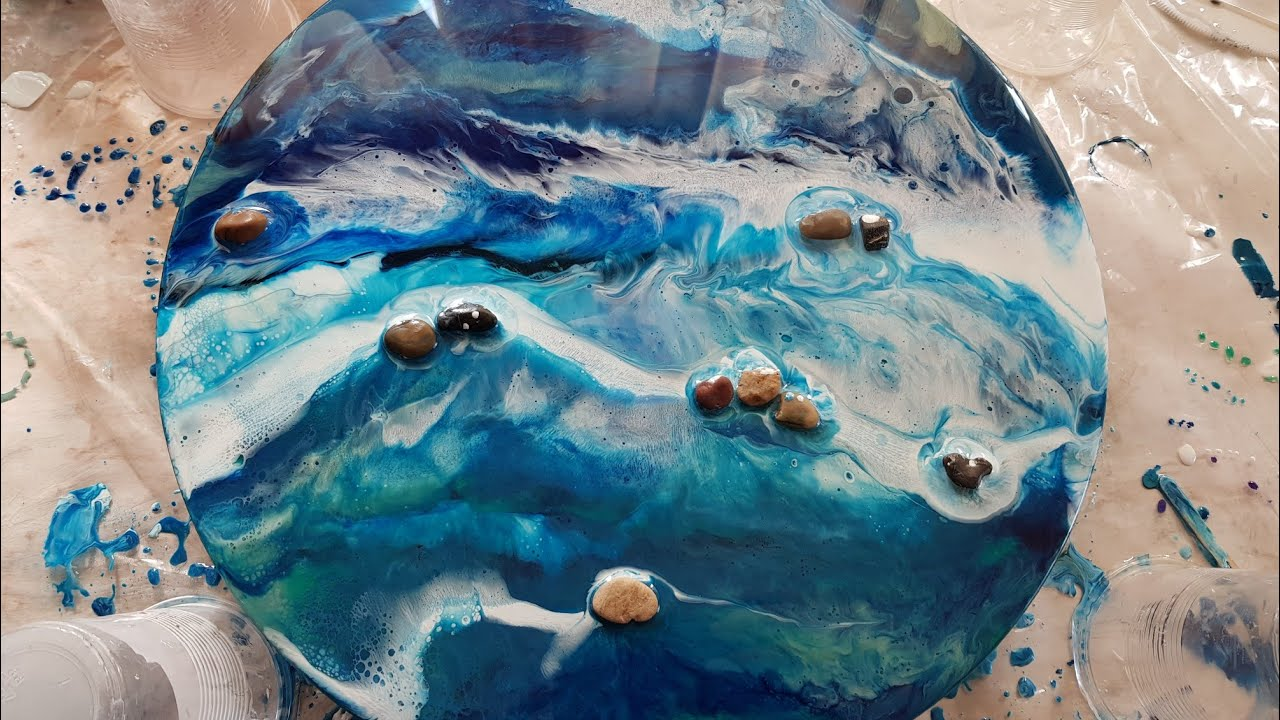 Resin Art for begginers using epoxy pastes and tiny river rocks/ 2 layers