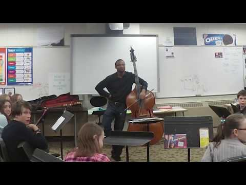 Xavier Foley plays and speaks at Ordean East Middle School