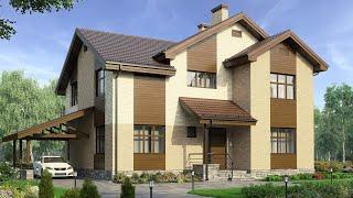 Проект дома из кирпича в немецком стиле. Дом с террасой и панорамные окна. Ремстройсервис М-209