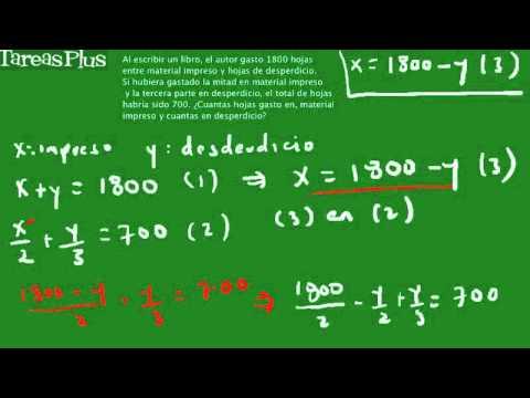 Problema sistema de ecuaciones hojas de papel - YouTube