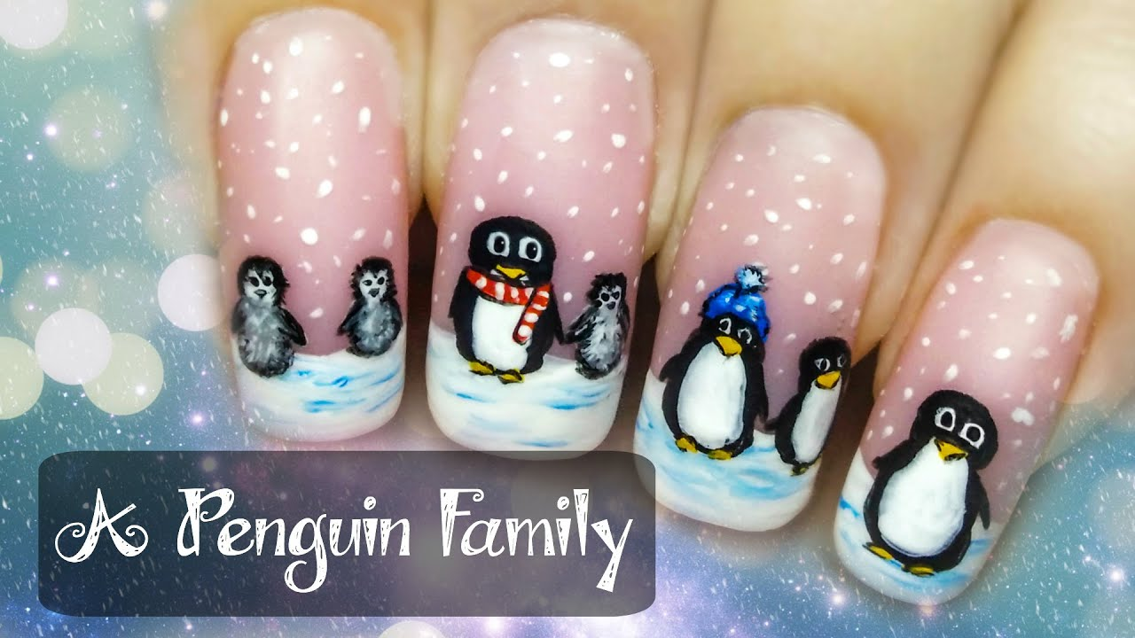 penguin family freehand nail