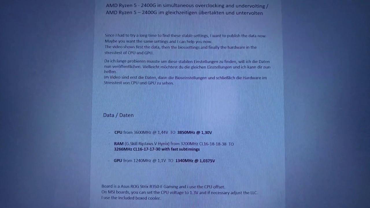AMD Ryzen 5 - 2400G in simultaneous overclocking and undervolting - english  / deutsch