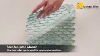 Iridescent Pool Glass Tile Aqua Oval - 120KELUTO21421