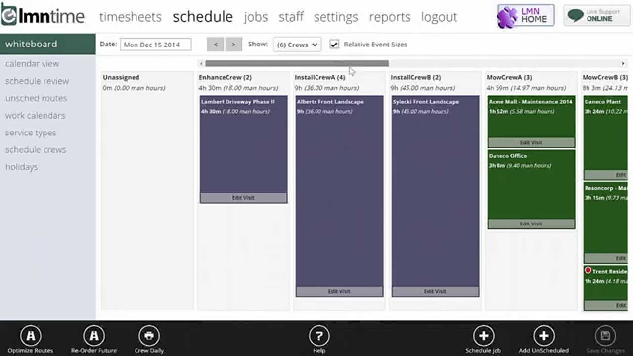 Landscape Scheduling Software - LMN - Daily Whiteboard