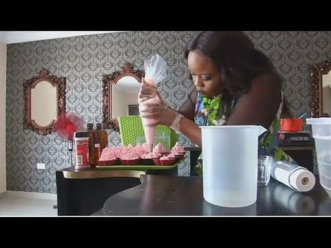Nigerian entrepreneur makes cake soap in her beauty store