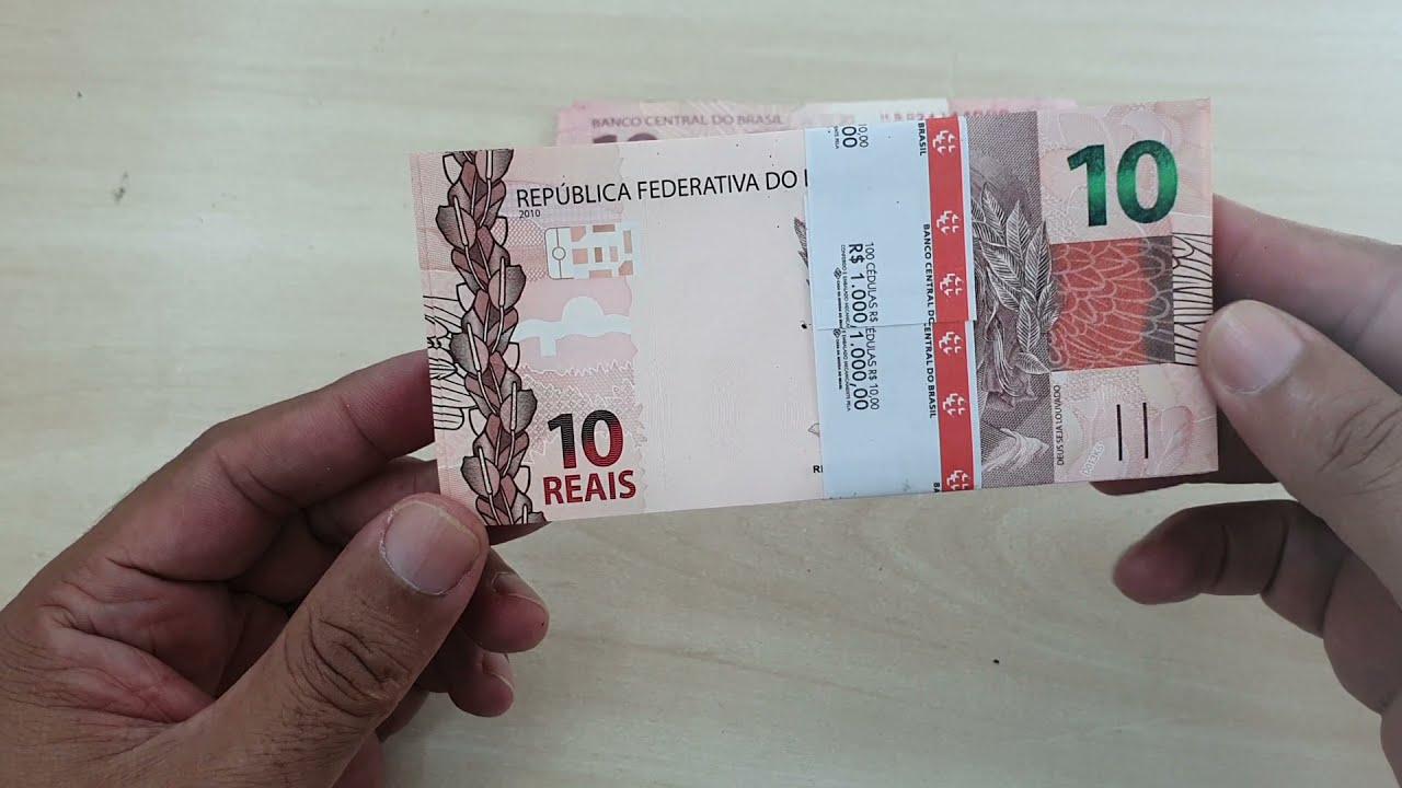 160 notas de $10,00 reais, flor de estampa...