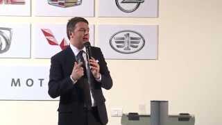 Renzi interviene al centro di ricerca e sviluppo della General Motors