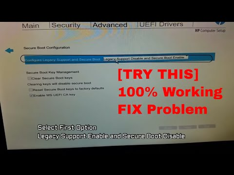 Legacy Support Enable and Secure Boot Disable / Enable PXE / Legacy boot BIOS settings HP