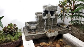 How to make amazing beautiful great cemented waterfall fountain water fountain