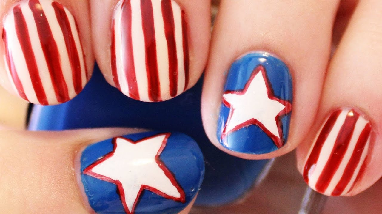 4th of july red white and blue nails youtube prinsesfo Images